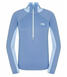 The North Face Women's MOMENTUM THERMAL 1/2 ZIP L/S Fleece Mid Layer XS Blue