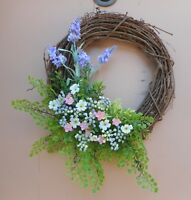 """16"""" Lavender Pink White Mixed Floral Spring Summer Grapevine Door Wreath"""