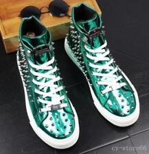 New Punk high top Mens Rivet Lace Up Patent Fashion Chic New Ankle Boots Shoes