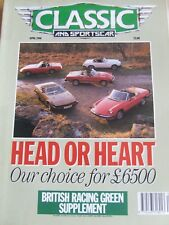 CLASSIC & SPORTSCAR MAGAZINE APR 1990 HEAD OF HEART BRITISH RACING GREEN SHELBY