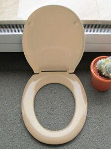 Hamberger WC Sitz bahamabeige Toilettendeckel Klositz mit Edelstahlscharnier Neu