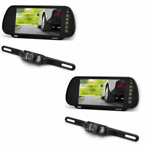 Pyle PLCM7200 7 Inch Rearview Mirror Monitor Night Vision Backup Camera (2 Pack)