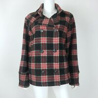 Woolrich Size Large Pea Coat Wool Blend Cuff Zip Red Black Plaid Jacket