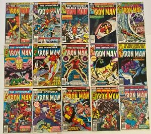 IRON MAN #105 to 161 Newsstand Marvel Bronze Collection 15pc Run Lot FN- to F/VF