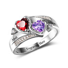 Size 6 Bold Hearts 925 Sterling Silver Ring, Personalised Names & Engrave, Gift