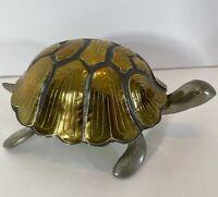 "Vintage Pewter & Brass Lidded Turtle Trinket Box 6"" x  3.75"" x 2.5"""