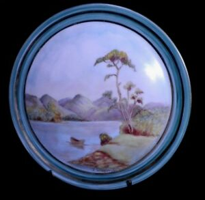 SUPERB HAND PAINTED PLATE by J.WRIGGLESWORTH - LAKE & MOUNTAINS