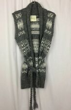 KENJI Sweater Vest Gray Cotton Alpaca & Wool Blend Detached Braided Belt Size M