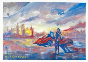 original painting A3 166MA art samovar Gouache modern landscape Signed 2021
