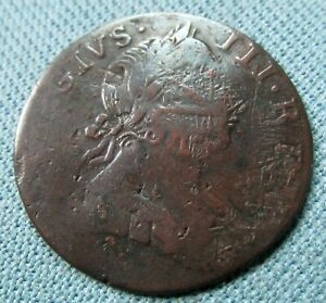 1775 King George III Colonial Non Regal Halfpenny Copper - Mystery Design Effect