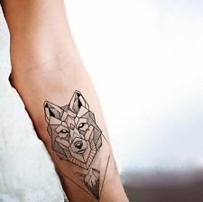 Waterproof Temporary Fake Tattoo Stickers Grey Geometric Wolf Mountain Forest