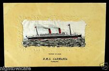 Woven Silk Postcard RMS CARMANIA Cunard Line c.1906 turbine
