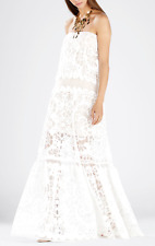 $428 BCBG White Nude Melannie Strapless Lace Beach Wedding Dress Size 10 L Large