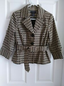 Grace Elements Women's Fit And Flare Belted Blazer. Black/tan. 4P
