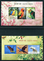 India 2016 MNH Exotic Birds 6v in 2 M/S Parrots Amazons Macaws Conures Stamps