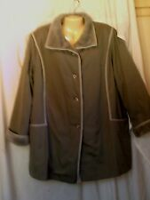 BONDERS WARM COAT GREY WITH FAUX FUR LINING CUFFS AND COLLAR SIZE XL