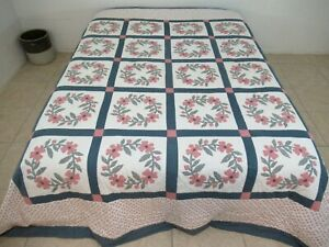 "Vintage Hand Stitched Applique & Hand Quilting WREATH OF ROSES Quilt 100"" X 90"""
