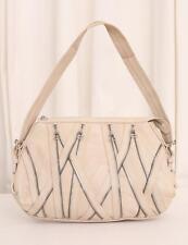 BALMAIN Casual Cream Beige Nude Leather Multi-Zipper Shoulder Bag Handbag Purse