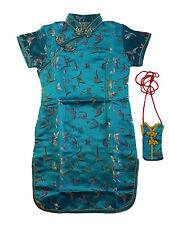 New Girls Turquoise Chinese/Oriental Dress 2-3 Years +Purse