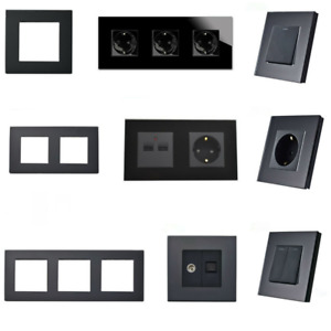 Glas Lichtschalter, Steckdose, Wechselschalter, Dimmer, TV, USB, Türklingel uvm.