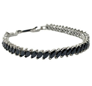 White gold finish Tennis Bracelet marquise cut black onyx gift boxed free post