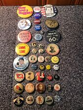 New listing Lot of 42 Old Vintage Pinback Button Pins Political Pep Television Ww1 And More