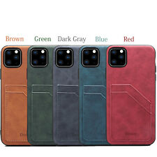 Leather Protective Cover for iPhone Samsung Huawei Card Slots Slim Fit Back Case