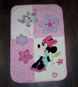Disney Baby Minnie Mouse Plush Flowers Butterflies Hearts Blanket Polka Dots