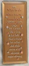 """Glass 2.5X6"""" Coppertone Mirror Humor Sign: What to do When Stressed Out....."""