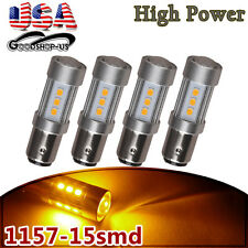 4x Amber/Yellow 1157 High Power 15W Turn Signal Tail Brake Stop LED Light Bulbs