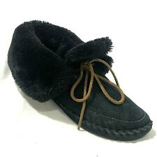 Lucky Brand Moccasin Slipper Women 9.5 Black Suede Leather Bootie Shearling Line