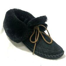 Lucky Brand Women 9.5 Slipper Suede Leather Sheepskin Wool Lined Shearling Black