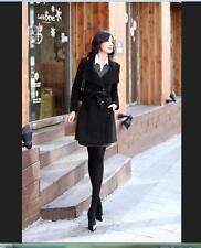 Women Thicken Warm Winter Woolen Trench Coat Parka Overcoat Long Jacket Outwear