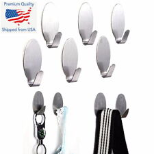 6PCS Self Adhesive Oval Wall Door Stainless Steel Holder Hook Hanger Hooks Keys