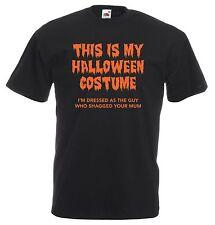 HALLOWEEN COSTUME RUDE T-SHIRT - OFFENSIVE GUY WHO SHAGGED YOUR MUM ORANGE BLACK