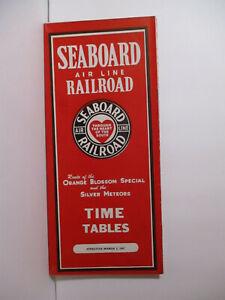March 2, 1947 Railroad Timetable  SEABOARD AIR LINE RAILWAY # 1453