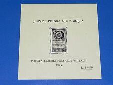 Poland 1945 MNH OG Poczta Osiedli Polskich in Italy Mint Stamps Sheet