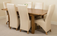 Cotswold Rustic Oak 132cm Extending Dining Table & 6 Brown Lola Leather Chairs Ivory