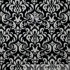 BonEful FABRIC FQ Cotton Woven Decor Black Ivory Off White S Flower Damask Swirl