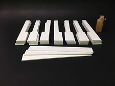 Extra Wide Piano Keytops w/Fronts, Full Set Of 52, Long Head, Gloss White w/Tool