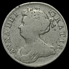 1709 Queen Anne Early Milled Silver Half Crown