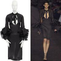 new YVES SAINT LAURENT TOM FORD Runway AW02 black bell sleeve dress FR36 US4 S
