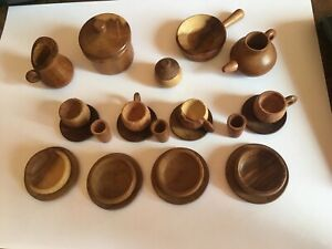Miniature Wooden Dish Set. Doll House, Excellent Condition.