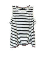 TOMMY HILFIGER Women's Striped White Navy Tank Top Gold Buttons Large Classic