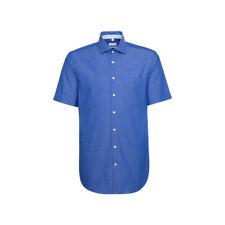 Seidensticker Herren Kurzarm Business Hemd Regular Kent blau Gr. 46 / 194049.15