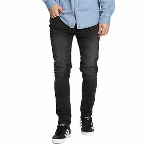 Mens Skinny Jeans Brave Soul Joe Stretch Distressed Black Wash Denim Pants