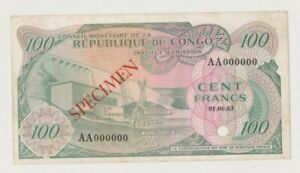 CONGO  P 1   SPECIMEN  100  FRANCS  1.6.1963  PUNCHED  XF