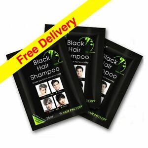 10 X 25ml Sachet 1 box Black Instant Hair Dye Shampoo 5 Minutes Colour UK Seller