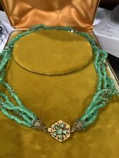 Vintage Signed Miriam Haskell 4 Strand Glass Necklace Green