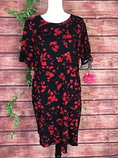Lands' End Dress Plus size 18 Black Red Floral Stretch Ponte Knit Straight Knee